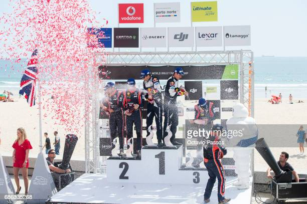 Nicolas Gilsoul Thierry Neuville Sebastien Ogier Julien Ingrassia Dani Sordo and Marc Marti at the award ceremony awards for the WRC Portugal on May...