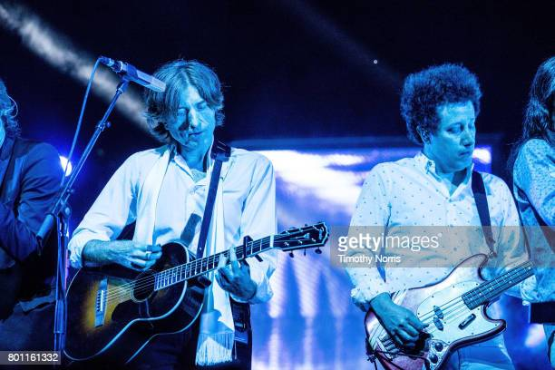 Nicolas Godin and Justin MeldalJohnsen perform with Air at The Greek Theatre on June 25 2017 in Los Angeles California