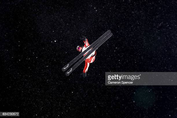 Nicolas Gygax of Switzerland performs an aerial during an Aerials training session prior to the FIS Freestyle World Cup at Bokwang Snow Park on...