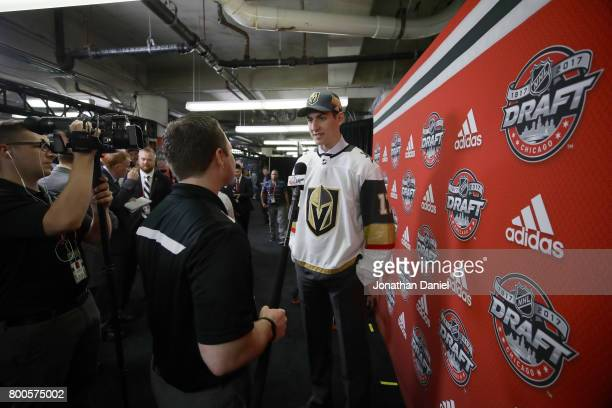 Nicolas Hague is interviewed after being selected 34th overall by the Vegas Golden Knights during the 2017 NHL Draft at the United Center on June 24...