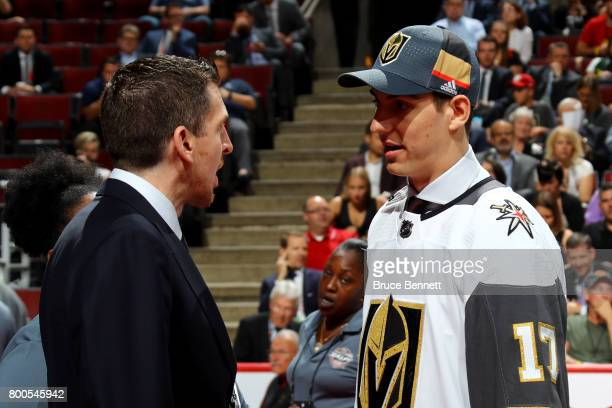 Nicolas Hague meets with Vegas Golden Knights executives after being selected 34th overall during the 2017 NHL Draft at the United Center on June 24...