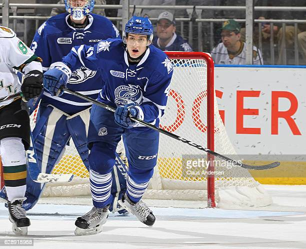 Nicolas Hague of the Mississauga Steelheads skates against the London Knights during an OHL game at Budweiser Gardens on December 9 2016 in London...