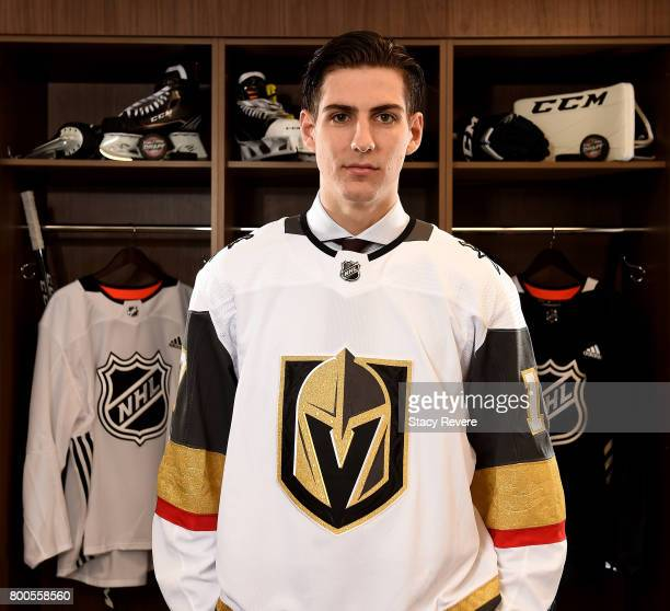 Nicolas Hague poses for a portrait after being selected 34th overall by the Vegas Golden Knights during the 2017 NHL Draft at the United Center on...