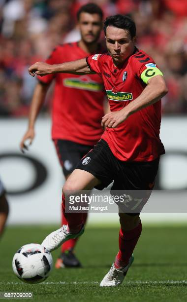 Nicolas Hoefler of Freiburg controls the ball during the Bundesliga match between SC Freiburg and FC Ingolstadt 04 at SchwarzwaldStadion on May 13...