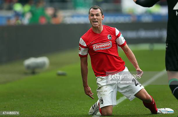 Nicolas Hoefler of Freiburg reacts during the Bundesliga match between Hannover 96 and SC Freiburg at HDIArena on May 23 2015 in Hanover Germany