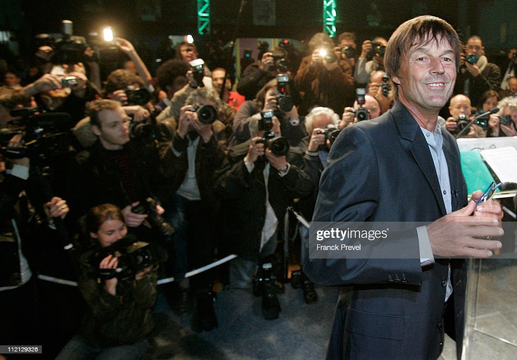 <a gi-track='captionPersonalityLinkClicked' href=/galleries/search?phrase=Nicolas+Hulot&family=editorial&specificpeople=2372364 ng-click='$event.stopPropagation()'>Nicolas Hulot</a>, a prominent French campaigner for environmental causes and TV personality announces his candidacy for the upcoming French presidential elections on April 13, 2011 in Sevran, North of Paris, France. The French presidential elections are scheduled to be held in May 2012.