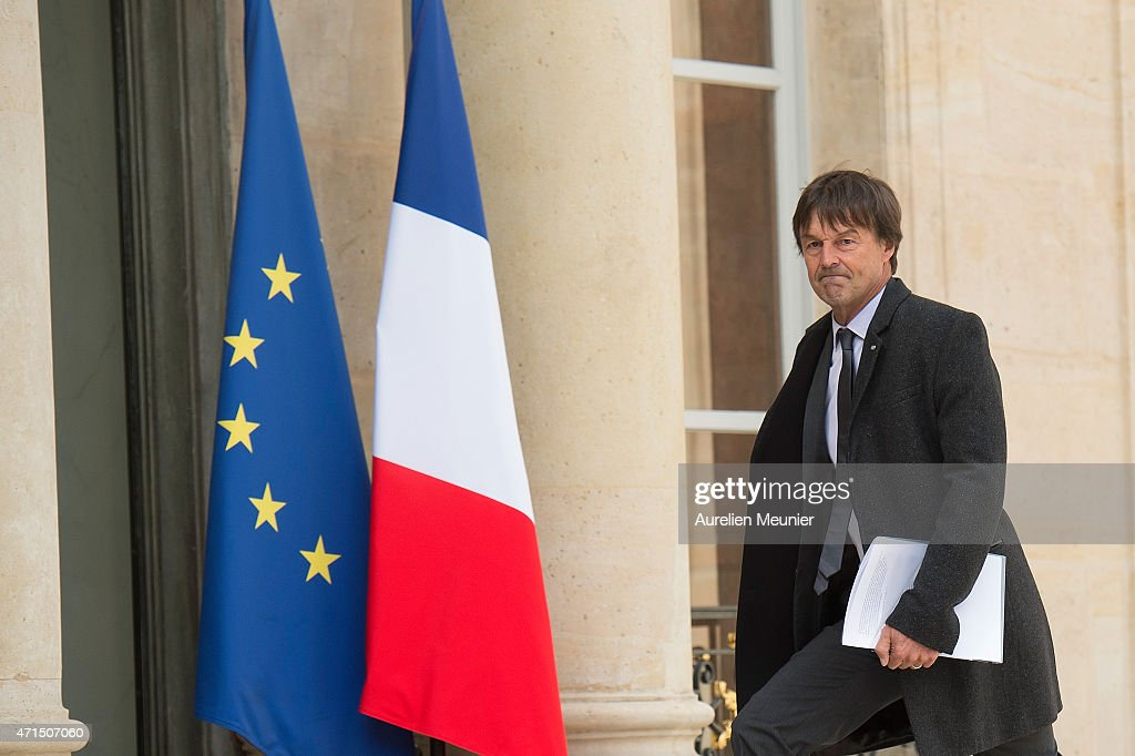 <a gi-track='captionPersonalityLinkClicked' href=/galleries/search?phrase=Nicolas+Hulot&family=editorial&specificpeople=2372364 ng-click='$event.stopPropagation()'>Nicolas Hulot</a> President of the Foundation Man and Nature arrives to the Elysee Palace for the weekly cabinet meeting on April 29, 2015 in Paris, France.