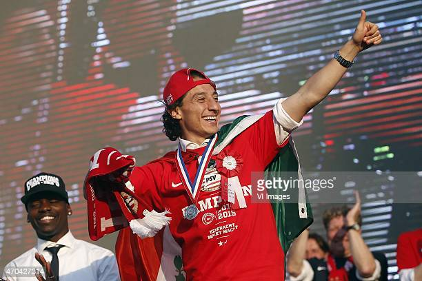 Nicolas Isimat of PSV Andres Guardado of PSV honoured at a ceremony and bus tour at the Eindhoven Town Hall on April 19 2015 at Eindhoven The...