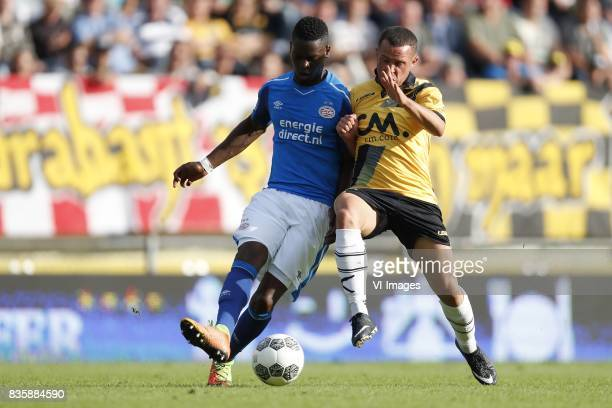 Nicolas IsimatMirin of PSV Giovanni Korte of NAC Breda during the Dutch Eredivisie match between NAC Breda and PSV Eindhoven at the Rat Verlegh...