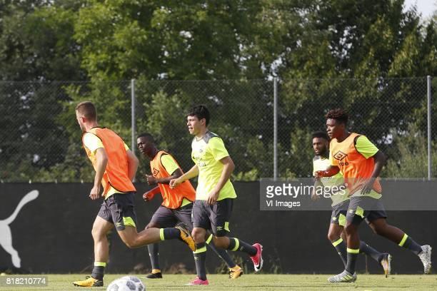 Nicolas IsimatMirin of PSV Hirving Lozano of PSV Jurgen Locadia of PSV Steven Bergwijn of PSV during the preseason summer training camp of PSV...