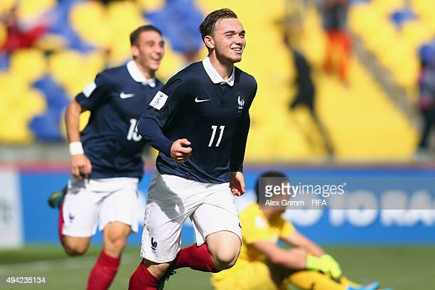 Nicolas Janvier of France celebrates his team's third goal during the FIFA U17 World Cup Chile 2015 Group F match between France and Syria at Estadio...