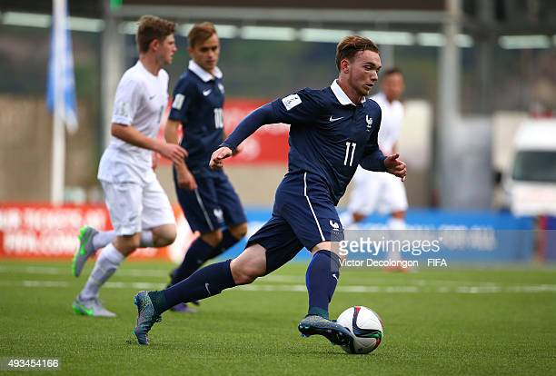 Nicolas Janvier of France plays the ball near midfield during the New Zealand v France Group F FIFA 2015 U17 World Cup match at Estadio Chinquihue on...