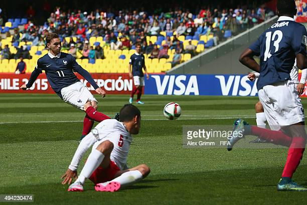 Nicolas Janvier of France scores his team's first goal during the FIFA U17 World Cup Chile 2015 Group F match between France and Syria at Estadio...
