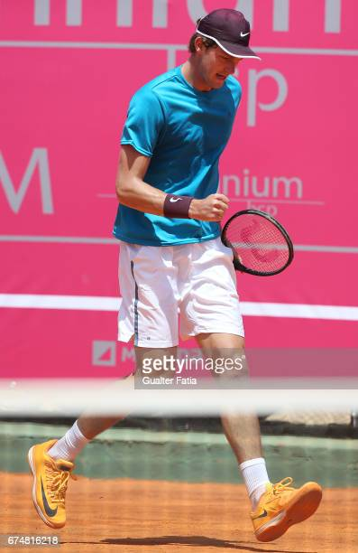 Nicolas Jarry celebrates after winning a point during the match between Ernesto Escobedo from USA and Nicolas Jarry from Chile for Millennium Estoril...