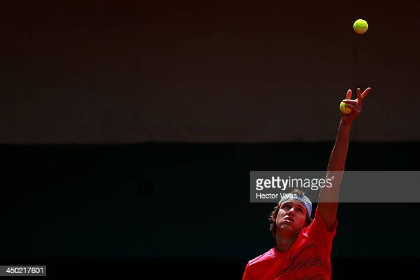 Nicolas Jarry form Chile serves the ball in Tennis event as part of the XVII Bolivarian Games Trujillo 2013 at Golf and Country Club on November 17...