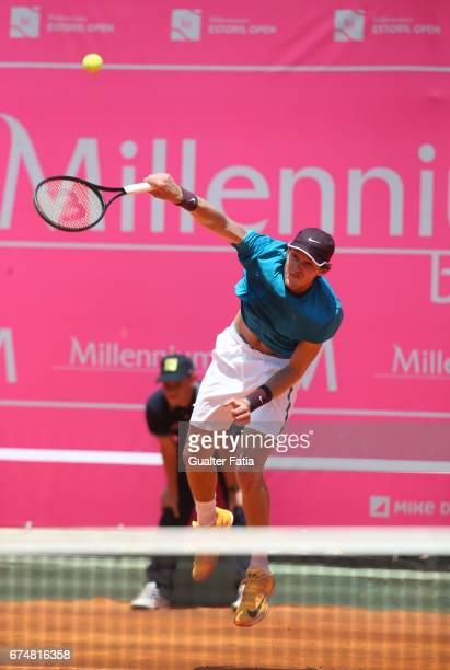 Nicolas Jarry in action during the match between Ernesto Escobedo from USA and Nicolas Jarry from Chile for Millennium Estoril Open at Clube de Tenis...