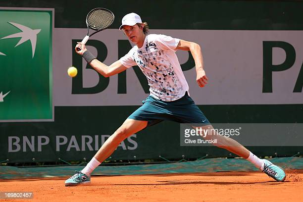 Nicolas Jarry of Chile plays a forehand during boys' singles match against Luca George Tatomir of Romania during day eight of the French Open at...