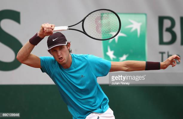 Nicolas Jarry of Chile plays a forehand during the mens singles first round match against Karen Khachanov of Russia day three of the 2017 French Open...