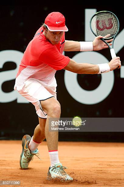 Nicolas Jarry of Chile returns a shot to David Ferrer of Spain during the Rio Open at Jockey Club Brasileiro on February 16 2016 in Rio de Janeiro...