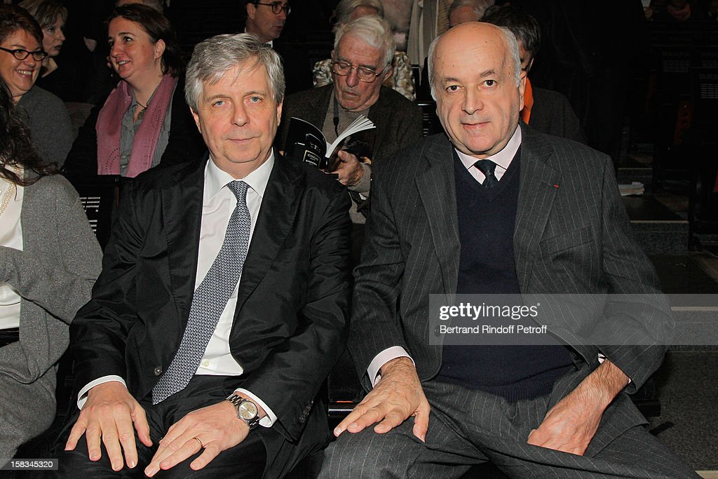 Nicolas Joel, Director of the Paris Opera, and Stephane Lissner, General Director and Artistic Director of La Scala Opera in Milan, attend the Arop Gala event for Carmen new production launch at Opera Bastille on December 13, 2012 in Paris, France.