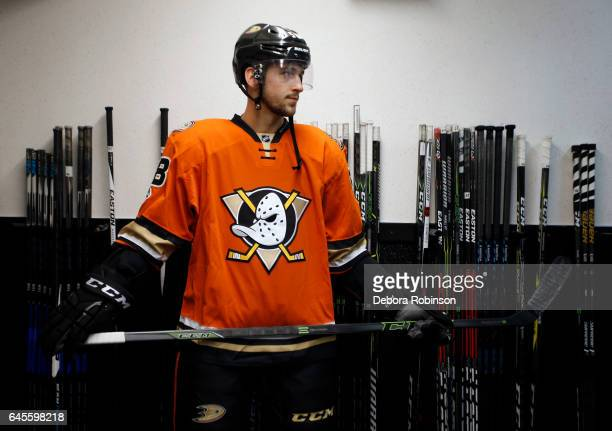 Nicolas Kerdiles of the Anaheim Ducks gets ready to make his NHL debut in a game against the Boston Bruins on February 22 2017 at Honda Center in...