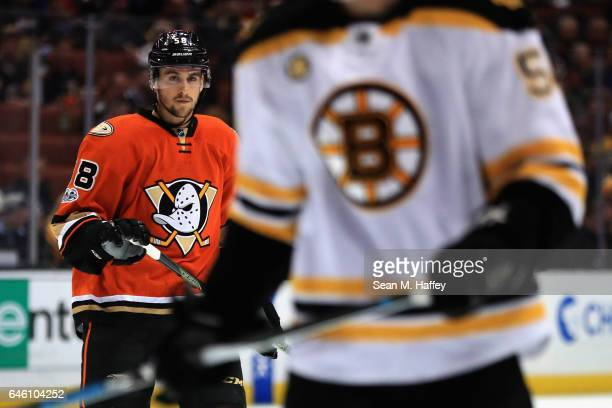 Nicolas Kerdiles of the Anaheim Ducks looks on during the first period of a game against the Boston Bruins at Honda Center on February 22 2017 in...