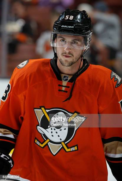 Nicolas Kerdiles of the Anaheim Ducks looks on during warmups before his NHL debut in a game against the Boston Bruins on February 22 2017 at Honda...