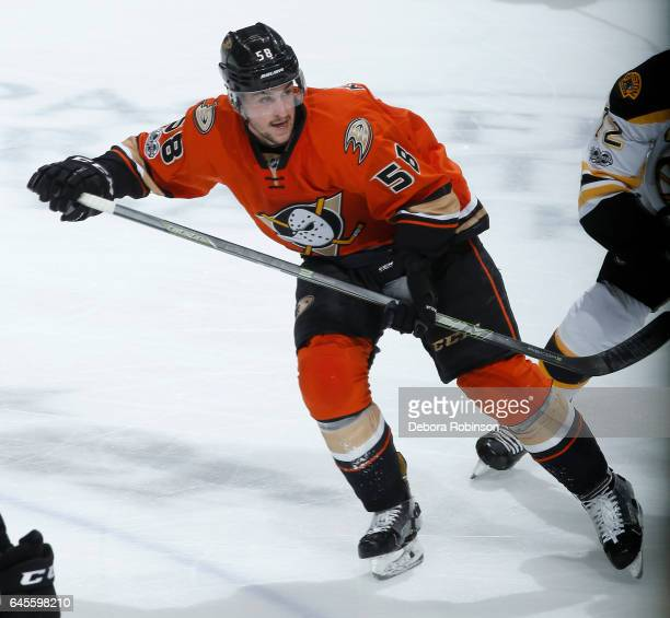 Nicolas Kerdiles of the Anaheim Ducks skates during his NHL debut in the game against the Boston Bruins on February 22 2017 at Honda Center in...