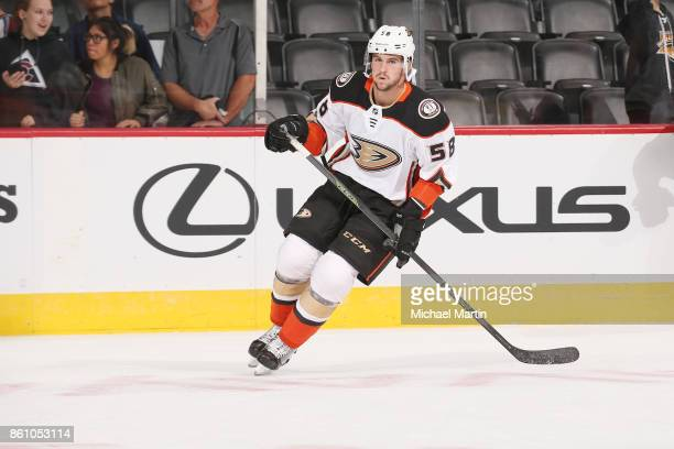 Nicolas Kerdiles of the Anaheim Ducks skates during warm ups prior to the game against the Colorado Avalanche at the Pepsi Center on October 13 2017...