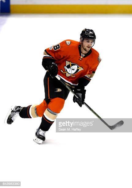Nicolas Kerdiles of the Anaheim Ducks skates prior to a game against the Boston Bruins at Honda Center on February 22 2017 in Anaheim California