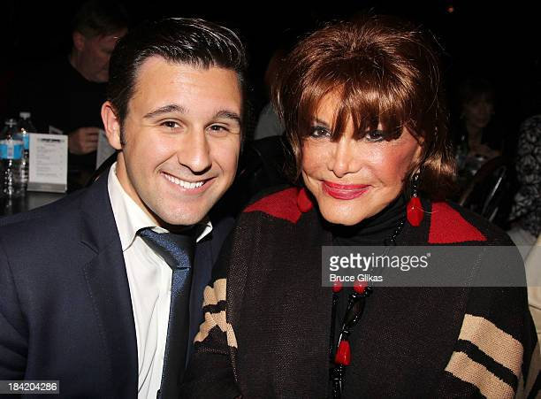 Nicolas King and Connie Francis pose backstage at Nicolas King's show at Don't Tell Mama on October 11 2013 in New York City