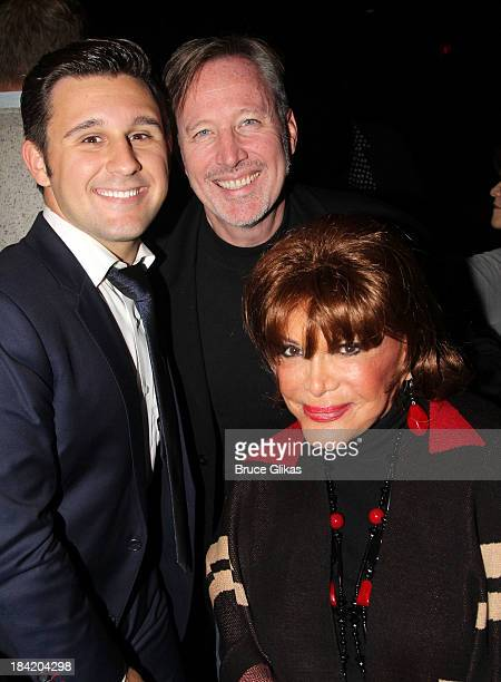 Nicolas King John McDaniel and Connie Francis pose backstage at Nicolas King's show at Don't Tell Mama on October 11 2013 in New York City