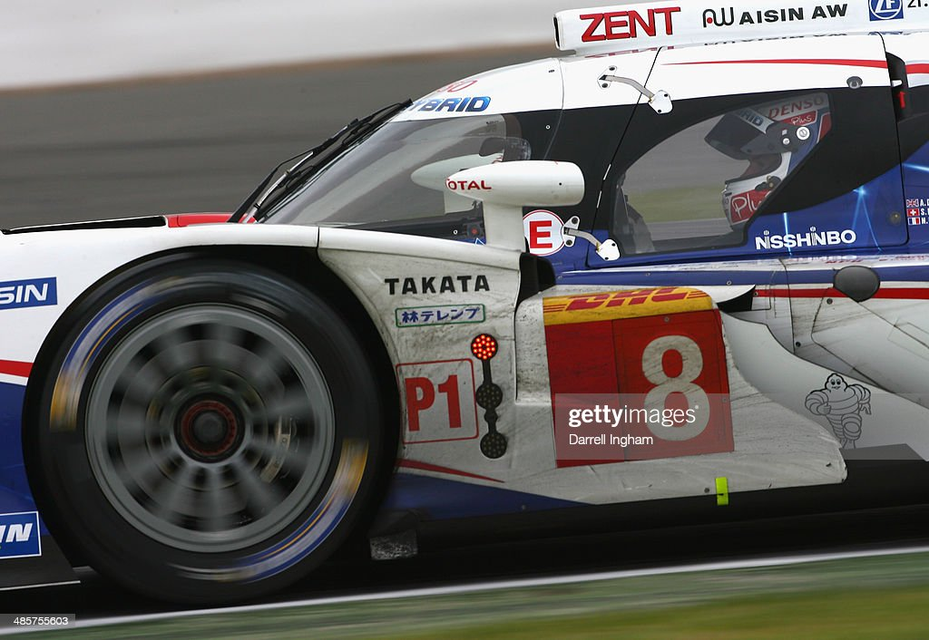 Nicolas Lapierre of France drives the #8 Toyota Racing Toyota TS040 Hybrid LMP1 during the FIA World Endurance Championship 6 Hours of Silverstone sportscar race at the Silverstone Circuit on April 20, 2014 in Northampton, England.