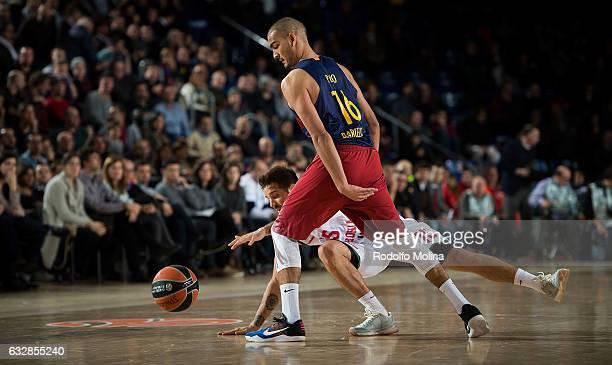 Nicolas Laprovittola #15 of Baskonia Vitoria Gasteiz competes with Stefan Peno #16 of FC Barcelona Lassa the 2016/2017 Turkish Airlines EuroLeague...