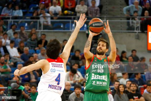 Nicolas Laprovittola #15 of Baskonia Vitoria Gasteiz in action during the 2016/2017 Turkish Airlines EuroLeague Playoffs leg 3 game between Baskonia...