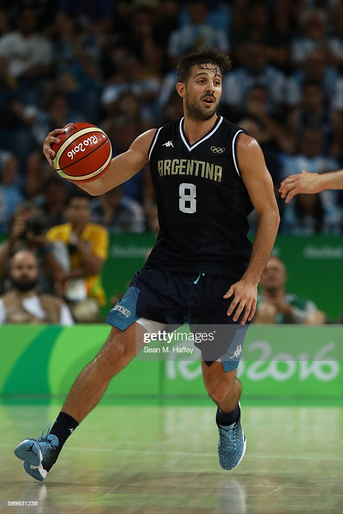 Nicolas Laprovittola of Argentina during a Men's Basketball Preliminary Round Group B game between Spain and Argentina on Day 10 of the Rio 2016...