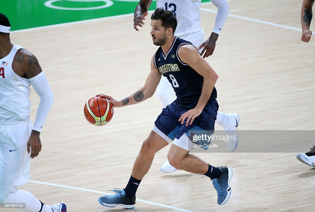Nicolas Laprovittola of Argentina in action during the Men's Quarterfinal basketball match between USA and Argentina on day 12 of Rio Olympic Games...