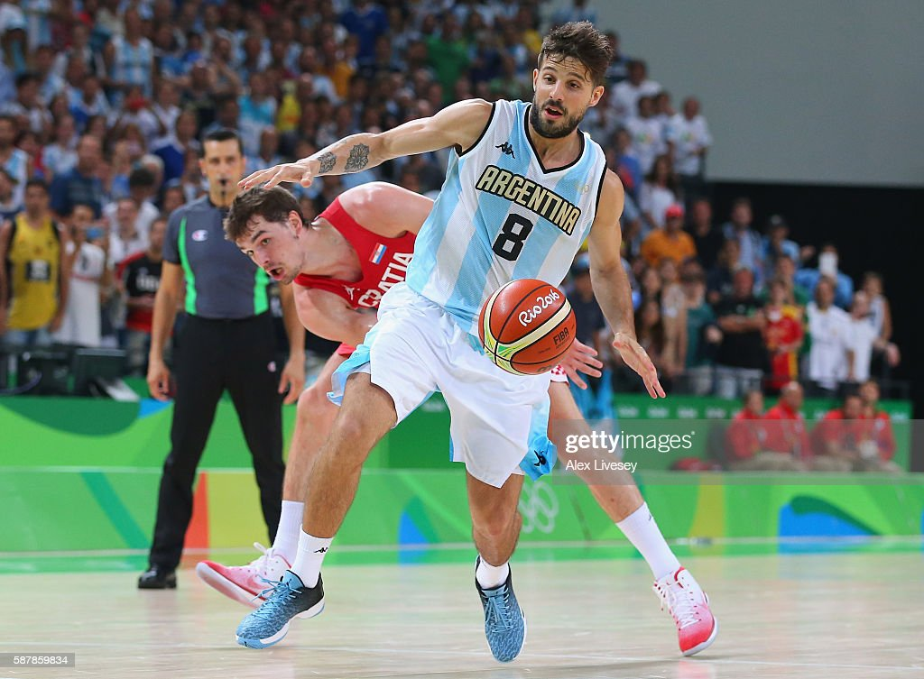 Nicolas Laprovittola of Argentina moves the ball against Mario Hezonja of Croatia during a preliminary round basketball game between Croatia and...