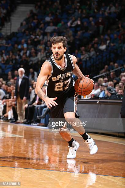 Nicolas Laprovittola of the San Antonio Spurs handles the ball during a game against the Minnesota Timberwolves on December 6 2016 at the Target...