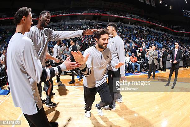 Nicolas Laprovittola of the San Antonio Spurs is introduced before a game against the Minnesota Timberwolves on December 6 2016 at the Target Center...