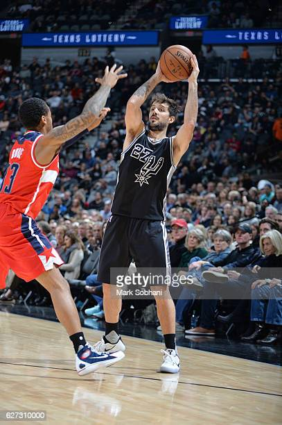 Nicolas Laprovittola of the San Antonio Spurs shoots the ball against the Washington Wizards during the game on December 2 2016 at the ATT Center in...
