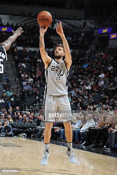 Nicolas Laprovittola of the San Antonio Spurs shoots the ball against the Brooklyn Nets on December 10 2016 at the ATT Center in San Antonio Texas...
