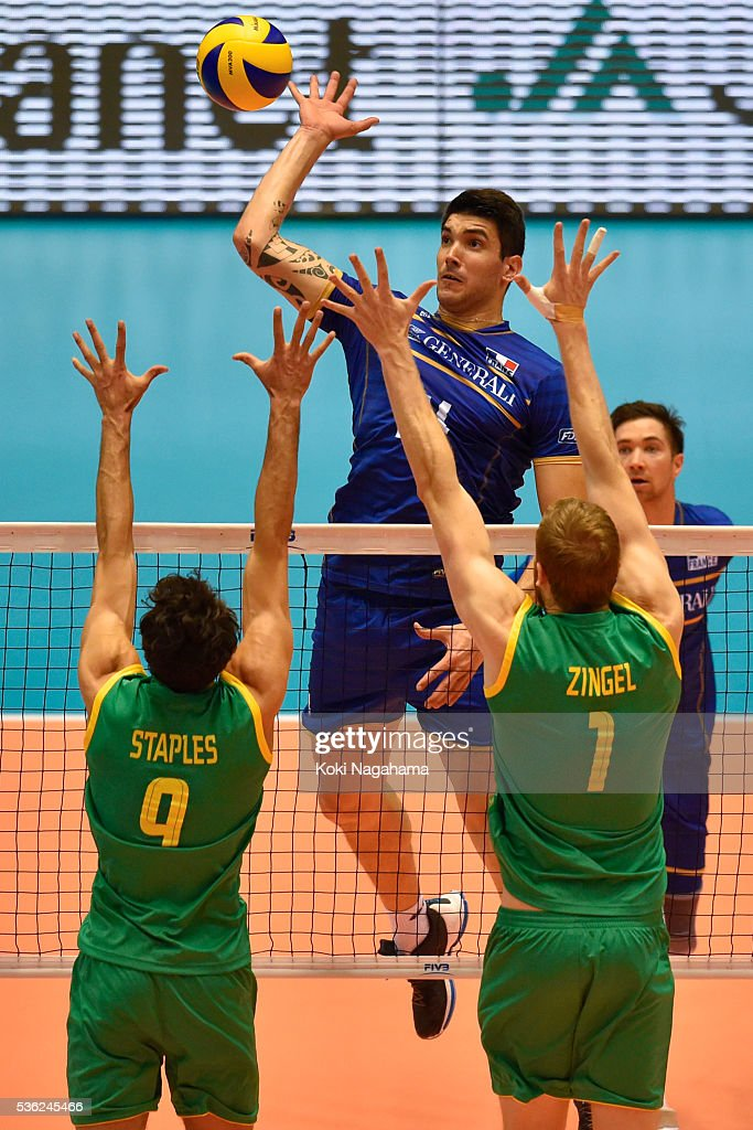 Nicolas Le Goff #14 of France spieks the ball during the Men's World Olympic Qualification game between France and Australia at Tokyo Metropolitan Gymnasium on June 1, 2016 in Tokyo, Japan.