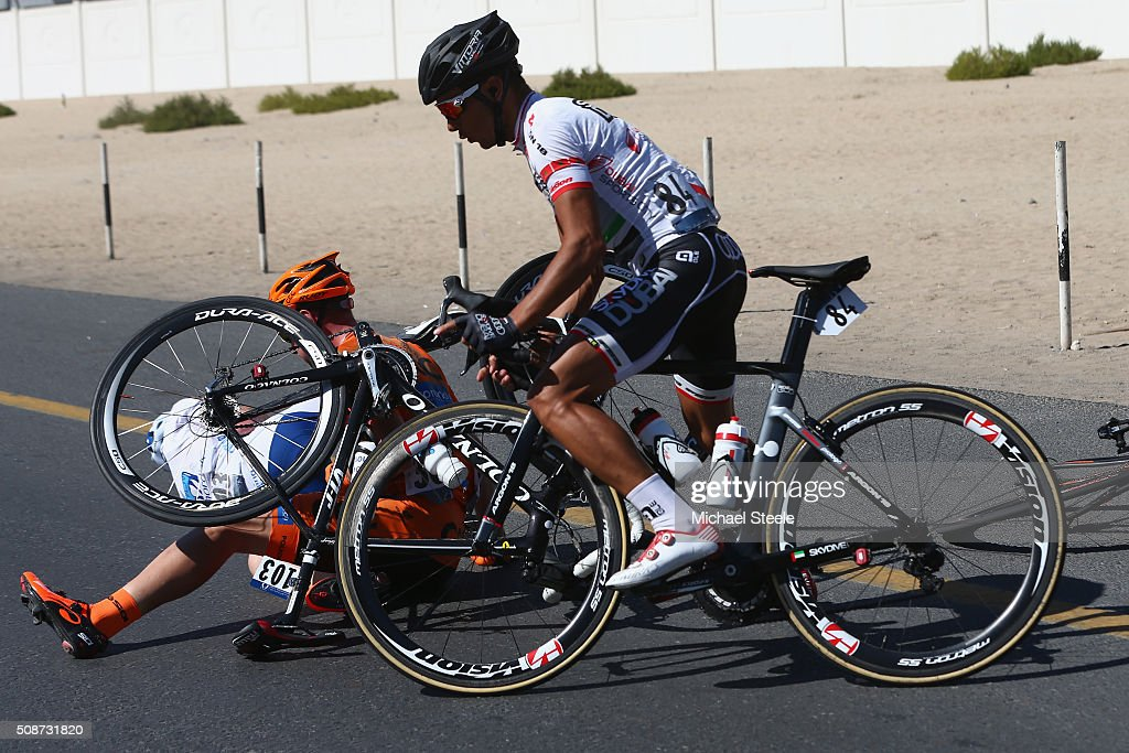<a gi-track='captionPersonalityLinkClicked' href=/galleries/search?phrase=Nicolas+Lefrancois&family=editorial&specificpeople=12804632 ng-click='$event.stopPropagation()'>Nicolas Lefrancois</a> of France and Team Novo Nordisk crashes alongside Branislav Samoilau of Belarus and CCC Sprandi polkowice as <a gi-track='captionPersonalityLinkClicked' href=/galleries/search?phrase=Adil+Jelloul&family=editorial&specificpeople=9168072 ng-click='$event.stopPropagation()'>Adil Jelloul</a> of Marocco and Skydive Dubai Pro Cycling Team avoids the collision during the Business Bay Stage Four of the Tour of Dubai on February 6, 2016 in Dubai, United Arab Emirates.