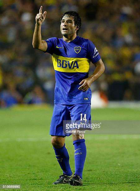 Nicolas Lodeiro of Boca Juniors celebrates after scoring the first goal of his team during a match between Boca Juniors and Union as part of Torneo...