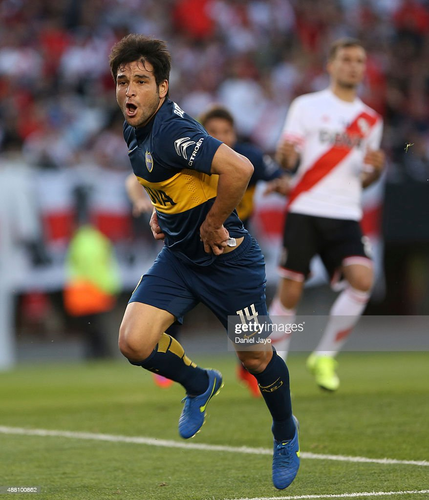 Nicolas Lodeiro of Boca Juniors celebrates after scoring the opening goal during a match between River Plate and Boca Juniors as part of 24th round...