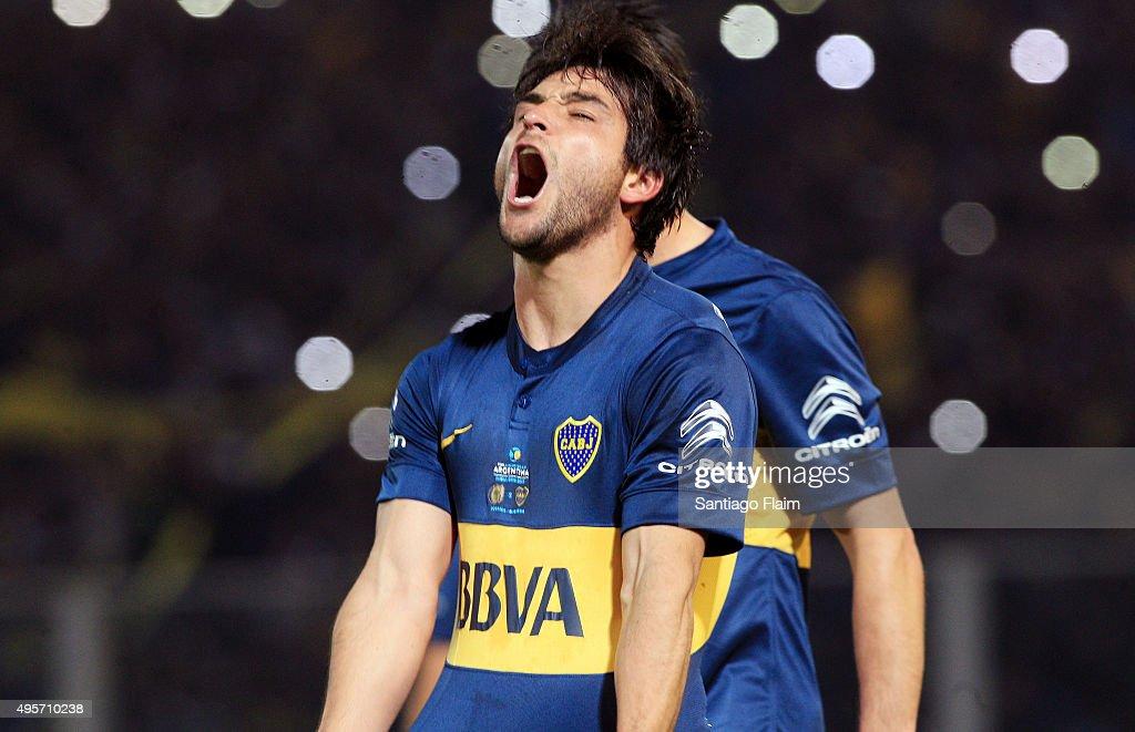 Nicolas Lodeiro of Boca Juniors celebrates after scoring the opening goal through a penalty kick during a final match between Boca Juniors and...