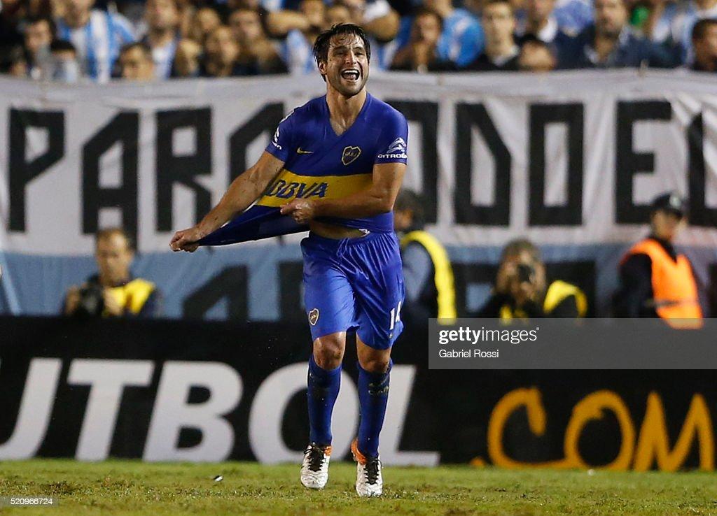 Nicolas Lodeiro of Boca Juniors celebrates after scoring the opening goal during a match between Racing and Boca Juniors as part of Copa Bridgestone...