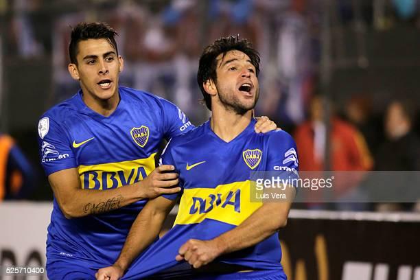 Nicolas Lodeiro of Boca Juniors celebrates after scoring the second goal of his team during a first leg match between Cerro Porteno and Boca Juniors...