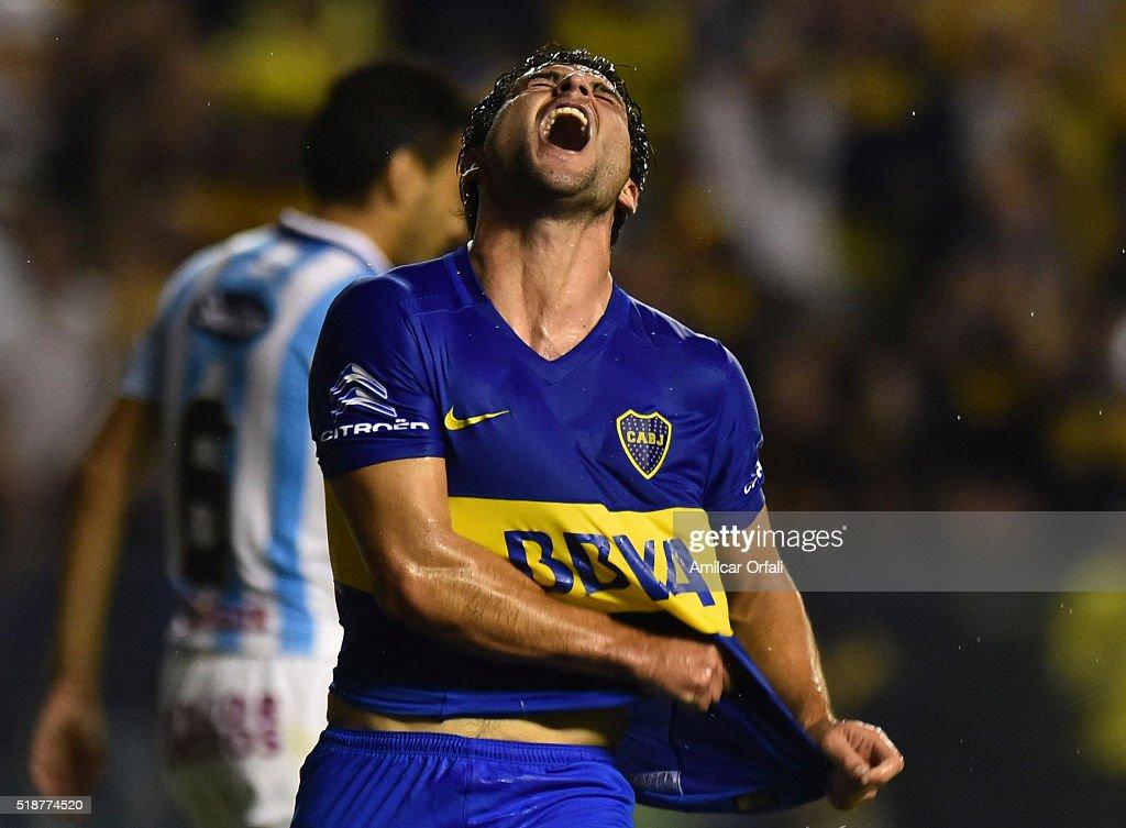 Nicolas Lodeiro of Boca Juniors celebrates after scoring the third goal his team during a match between Boca Juniors and Atletico Rafaela as part of...